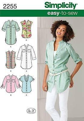 SIMPLICITY SEWING PATTERN Misses' Easy to Sew Tunic or Shirt SIZE 6 - 22 2255