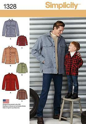 SIMPLICITY SEWING PATTERN  Boys' and Men's Shirt Jacket 1328