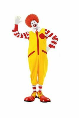 Mens Ronald The Clown Red & Yellow Fancy Dress Costume Jumpsuit & Accessories