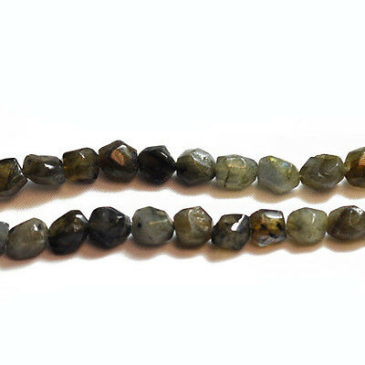 Strand Of 35+ Grey Labradorite 8mm Cut Nugget Beads GS5162