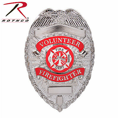 Firefighter Badge Deluxe Silver Volunteer Firefighter Badge Fire Department