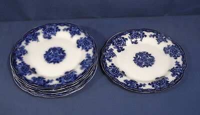 Antique New Wharf Pottery Flow Blue China WALDORF Raised Fan 6 Dinner Plates