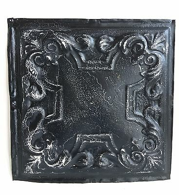 """12"""" x 12"""" Antique 1890's Tin Ceiling Tile Black A30 *SEE OUR SALVAGE VIDEOS"""