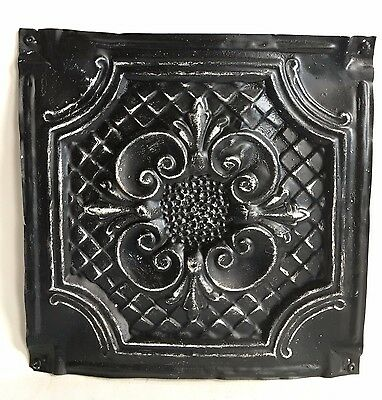"""12"""" x 12"""" Antique 1890's Tin Ceiling Tile Black A32 *SEE OUR SALVAGE VIDEOS"""