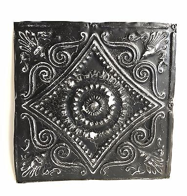 """12"""" x 12"""" Antique 1890's Tin Ceiling Tile Black A33 *SEE OUR SALVAGE VIDEOS"""