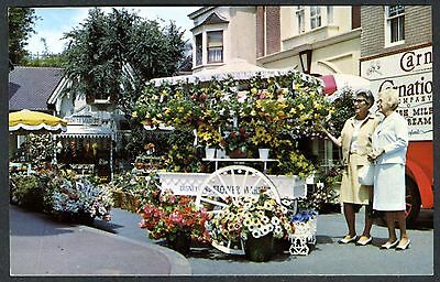 1960s DISNEYLAND MAIN STREET U.S.A. FLOWER MART&CARNATION TRUCK~UNUSED POSTCARD