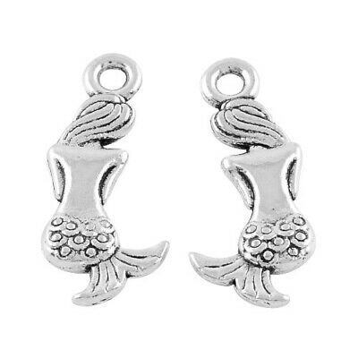 Packet of 10 x Antique Silver Tibetan 21mm Charms Pendants (Mermaid) ZX02220