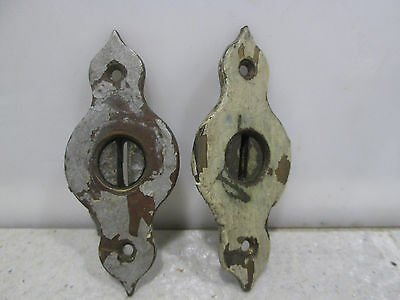 2 Vintage Brass Cabinet Door Escutcheons #409