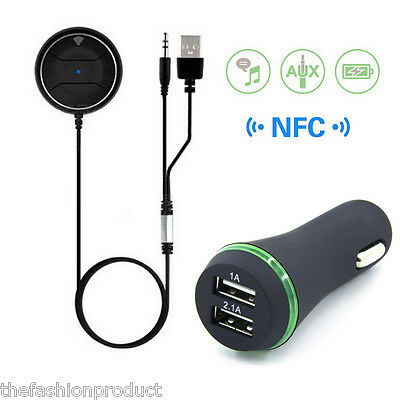NFC Bluetooth Vivavoce Stereo Ricevitore di Musica Auto Kit Aux USB Car Charger