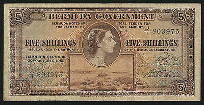 Bermuda 5 Shillings 1952 Pick 18a (4)
