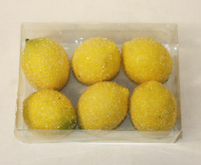 FROSTED Lemons Plastic Artificial Fruit Imitation Fake Christmas Decoration
