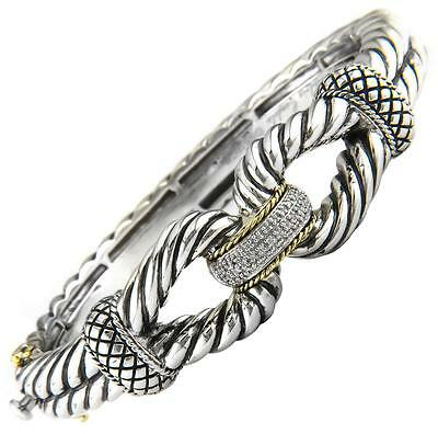Andrea Candela 18k Gold Silver Twisted Cable Diamond Bangle Bracelet Acb75 11
