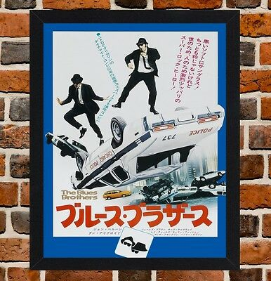 Framed The Blues Brothers Japanese Movie Poster A4 / A3 Size In Black Frame