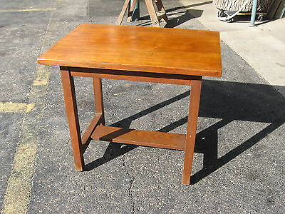 Arts & Crafts Small Solid Walnut Side End or Lamp Table Stand w/Casters