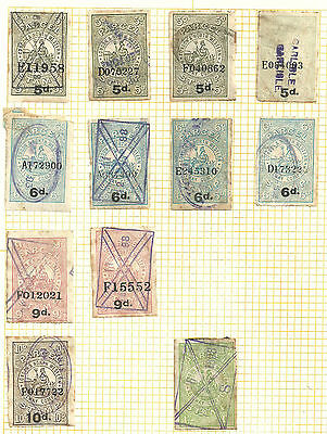 Selection/lot 12 London & North Western Railway Parcel Stamps Various Values