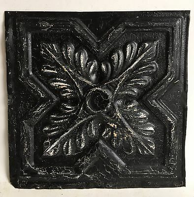 """12"""" x 12"""" Antique 1890's Tin Ceiling Tile Black A43 *SEE OUR SALVAGE VIDEOS"""