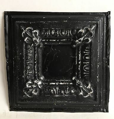 "12"" x 12"" Antique 1890's Tin Ceiling Tile Black A46 *SEE OUR SALVAGE VIDEOS"