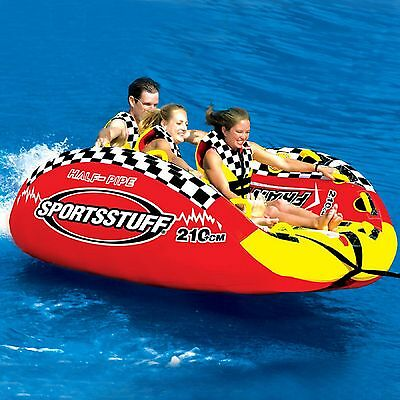 Boat Tube1/2 Pipe Frantic Inflatable 1-3 Rider Towable Tube  Marine