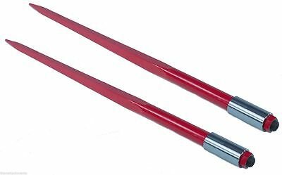 "Two 49"" 3000 lbs Hay Spears Nut Bale Spike Fork Tine red pair"