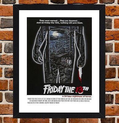 Framed Friday The 13th Horror Movie Poster A4 / A3 Size In Black / White Frame