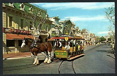 1960s DISNEYLAND MAIN STREET TOWN SQUARE w/HORSE-DRAWN STREETCAR~UNUSED POSTCARD
