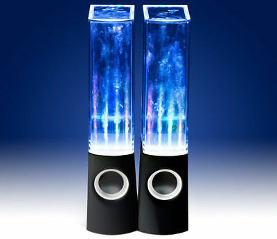 LED DANCING WATER FOUNTAIN SPEAKER USB POWERED 3.5mm AUX INPUT IPHONE IPOD BLACK