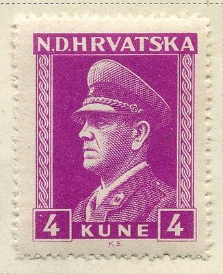 CROATIA;  1943 early WWII Pavelic issue fine Mint hinged 4k. value