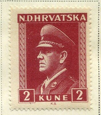 CROATIA;  1943 early WWII Pavelic issue fine Mint hinged 2k. value