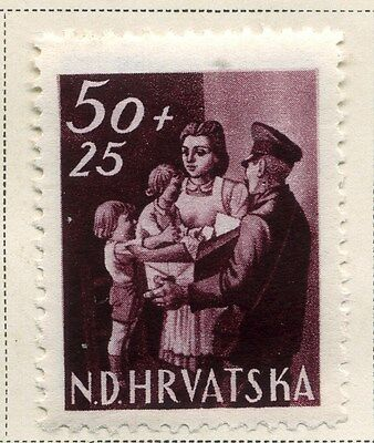 CROATIA;  1945 early Postal Workers Fund issue Mint hinged 50k. value