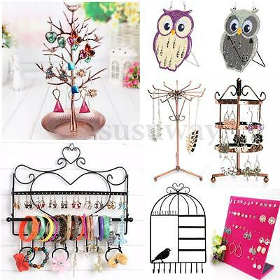 10 Types Earrings Stud Ring Necklace Jewelry Display Stand Holder Show Rack Gift