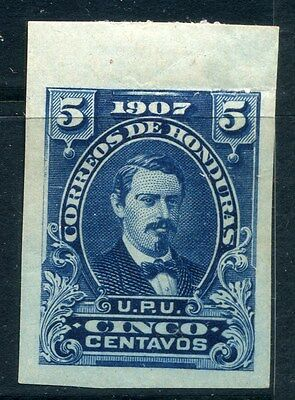 HONDURAS; 1900s early IMPERF PROOF COLOUR TRIAL 5c. on thick paper