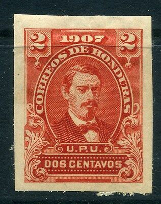 HONDURAS; 1900s early IMPERF PROOF COLOUR TRIAL 2c. on thick paper