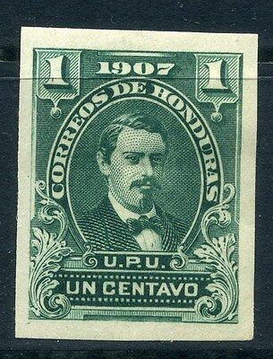 HONDURAS; 1900s early IMPERF PROOF COLOUR TRIAL 1c. on thick paper