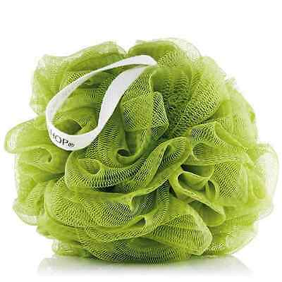 The Body Shop OLIVE GREEN Bath Shower Lily Polisher Wash Scrunchie Sponge PUFF