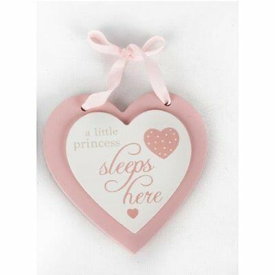 Pink Girls Baby Double Wooden Heart Hanging Plaque a little princess sleeps here