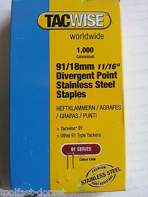 91 Series Stainless Steel Staples 18mm - 25mm. Fit Tacwise 191EL