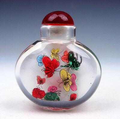 Peking Glass Inside *Butterfly Flower* Reverse Hand Painted Snuff Bottle #031716
