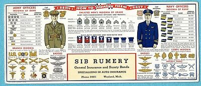 Advertising Blotters - Army / Navy Insignias
