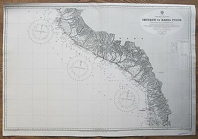 1921 Peru & Chile Iquique To Bahia Pisco Large Vintage Admiralty Chart Map