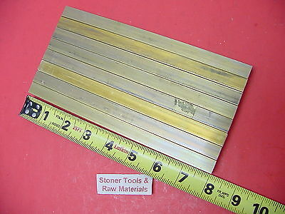 """8 pieces 1/2""""x 1/2"""" C360 BRASS SQUARE BAR 8"""" long Solid .50"""" Flat Mill Stock H02"""