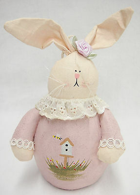 Folk Art Oil Cloth Girl Rabbit Figurine Pink Dress Primitive Country Decor