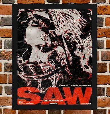 Framed Saw Horror Movie Poster A4 / A3 Size Mounted In Black / White Frame