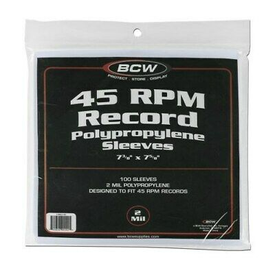 Pack / 100 BCW 45 RPM Record Acid Free Archival 2-Mil Poly Sleeves 7 3/8 X 7 5/8