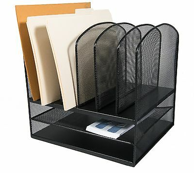 Adir Office Black Wire Mesh 2-Horizontal/6-Upright Section Organizer