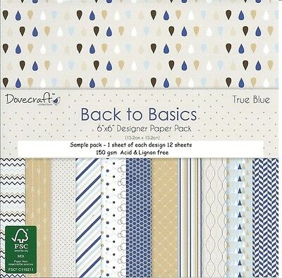 Dovecraft Back To Basics Papers - 6 X 6 Sample Pack  - 12 Sheets - True Blue
