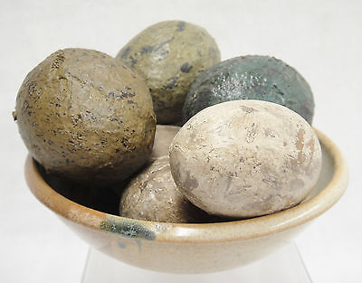 Brown Pottery Bowl with Primitive Wooden and Paper Mache Eggs Spring Decoration
