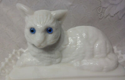 Vintage Westmoreland White Milk Glass Cat Covered Candy Dish Bowl Blue Eyes