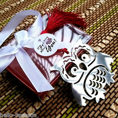 1PC Hello Silver Tone Stainless Steel Owl Bookmark Present Gift