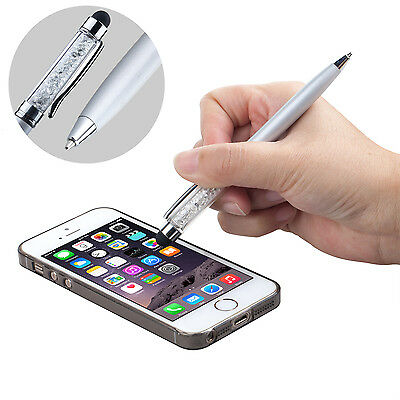 Silver Smartphone & Tablet Crystal Stylus with Ballpoint Pen 2in1