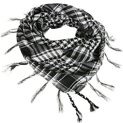 Black & White Desert Shemagh Scarf Lightweight Cotton Army Military Style - By